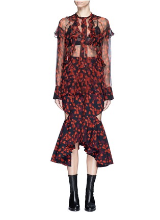 Main View - Click To Enlarge - Givenchy - Ruffle floral print silk chiffon blouse