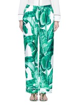 Banana leaf print silk pyjama pants