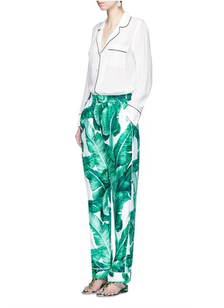 Figure View - Click To Enlarge - Dolce & Gabbana - Banana leaf print silk pyjama pants
