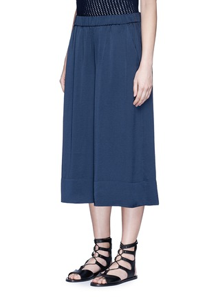 Front View - Click To Enlarge - Vince - Washed satin wide leg culottes