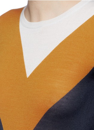 Detail View - Click To Enlarge - Stella McCartney - Football stripe virgin wool-silk sweater