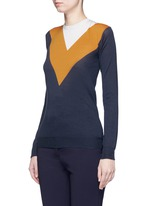 Football stripe virgin wool-silk sweater