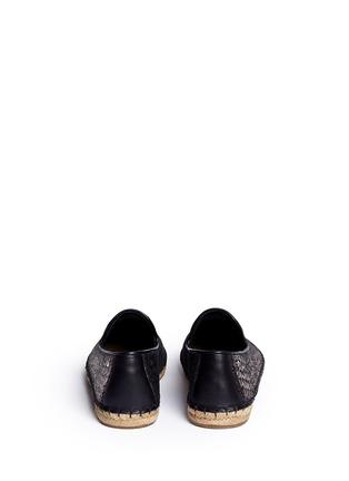 Back View - Click To Enlarge - Ugg Australia - 'Sandrinne' metallic basketweave leather espadrille slip-ons