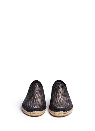 Front View - Click To Enlarge - Ugg Australia - 'Sandrinne' metallic basketweave leather espadrille slip-ons