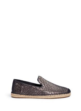 Main View - Click To Enlarge - Ugg Australia - 'Sandrinne' metallic basketweave leather espadrille slip-ons