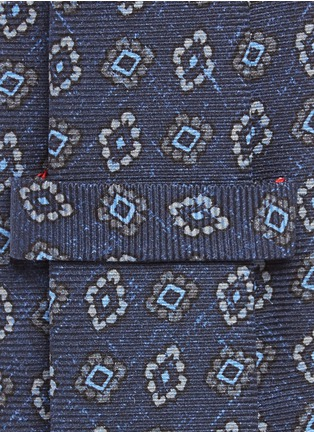 Detail View - Click To Enlarge - ISAIA - Floral diamond print silk tie