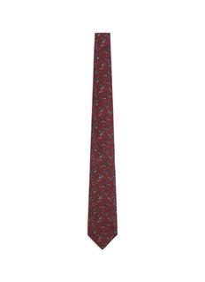 ISAIAFloral print wool-silk tie