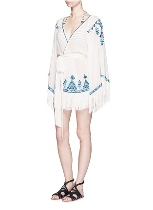 Talitha - 'Moroccan Kumari' embroidery silk crepe wrap cover-up