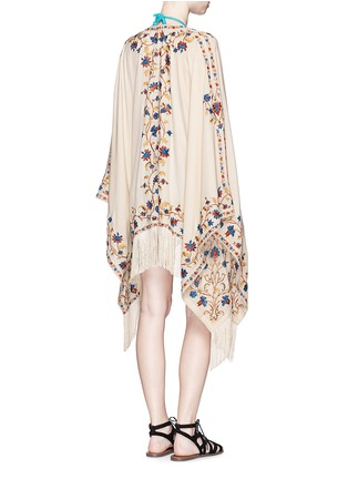 Front View - Click To Enlarge - Talitha - 'Moroccan Tara' floral embroidery silk crepe cover-up