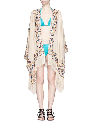 Main View - Click To Enlarge - Talitha - 'Moroccan Tara' floral embroidery silk crepe cover-up