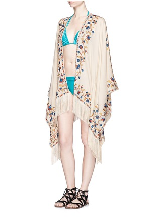 Figure View - Click To Enlarge - Talitha - 'Moroccan Tara' floral embroidery silk crepe cover-up