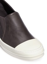 Colourblock leather slip-on boat sneakers