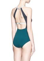 'Warren' cutout colourblock halterneck swimsuit