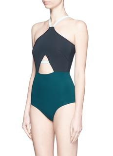 FLAGPOLE SWIM'Warren' cutout colourblock halterneck swimsuit