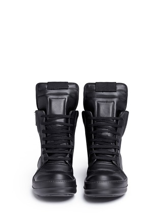 Front View - Click To Enlarge - Rick Owens - 'Geobasket' leather high top sneakers