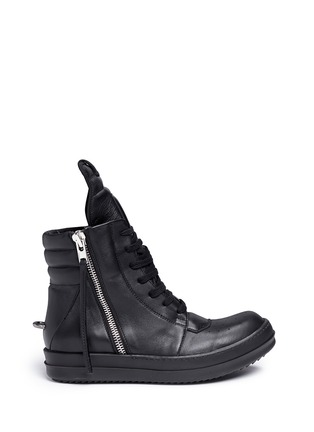 Main View - Click To Enlarge - Rick Owens - 'Geobasket' leather high top sneakers