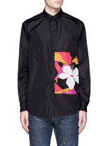 Floral pocket windbreaker shirt jacket