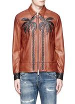 Palm tree appliqué sheepskin leather bomber jacket
