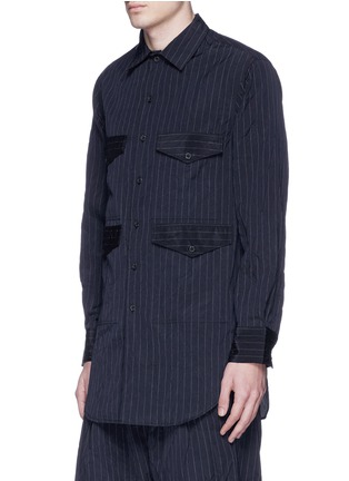Front View - Click To Enlarge - Song for the Mute - Crinkled pinstripe pocket shirt