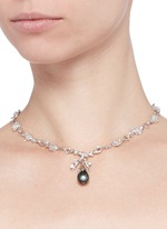 'Dewdrop' pearl flower bud sapphire 18k white gold necklace