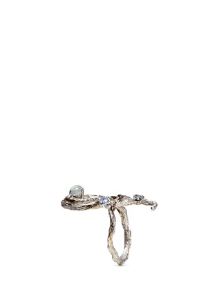Detail View - Click To Enlarge - Heting - 'Dewdrop' icy jade sapphire 18k white gold twig ring