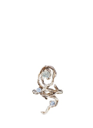 Heting - 'Dewdrop' icy jade sapphire 18k white gold twig ring