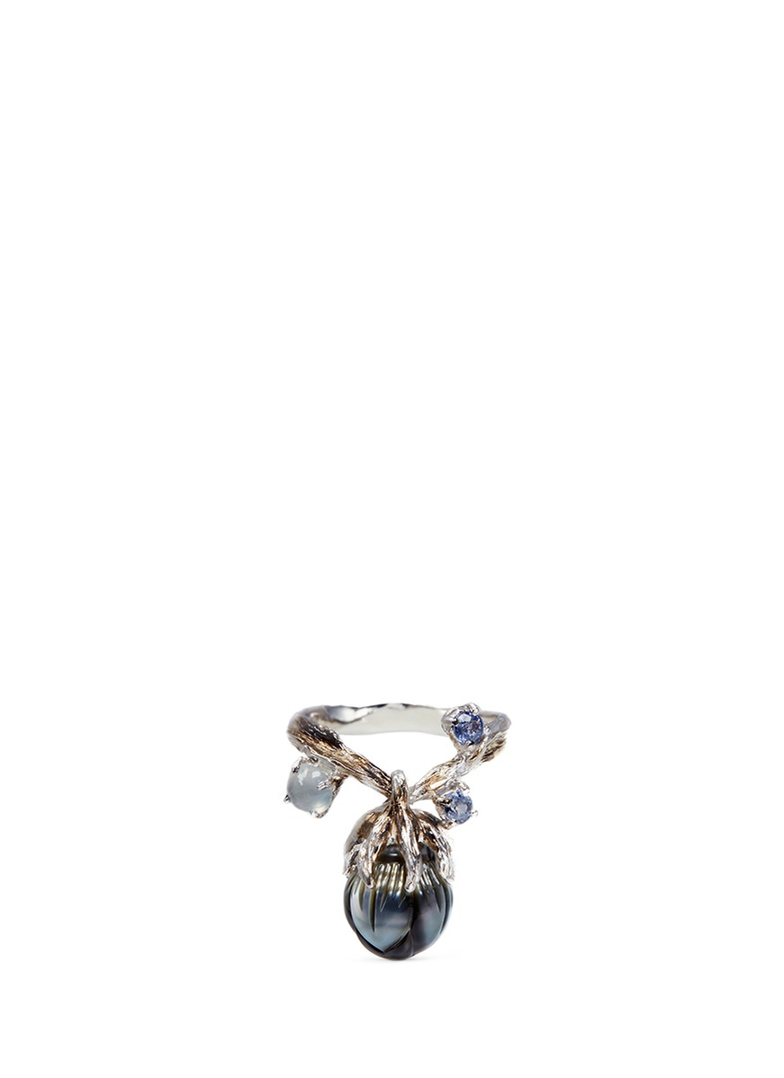 Dewdrop pearl flower bud sapphire 18k white gold ring by Heting