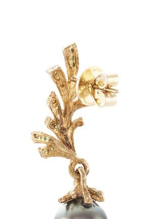 Detail View - Click To Enlarge - Heting - 'Pinecone' Tahitian pearl tsavorite 18k yellow gold drop earrings