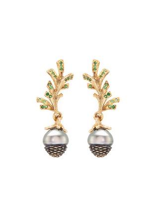 Main View - Click To Enlarge - Heting - 'Pinecone' Tahitian pearl tsavorite 18k yellow gold drop earrings
