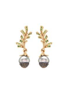 Heting'Pinecone' tsavorite pearl 18k gold earrings