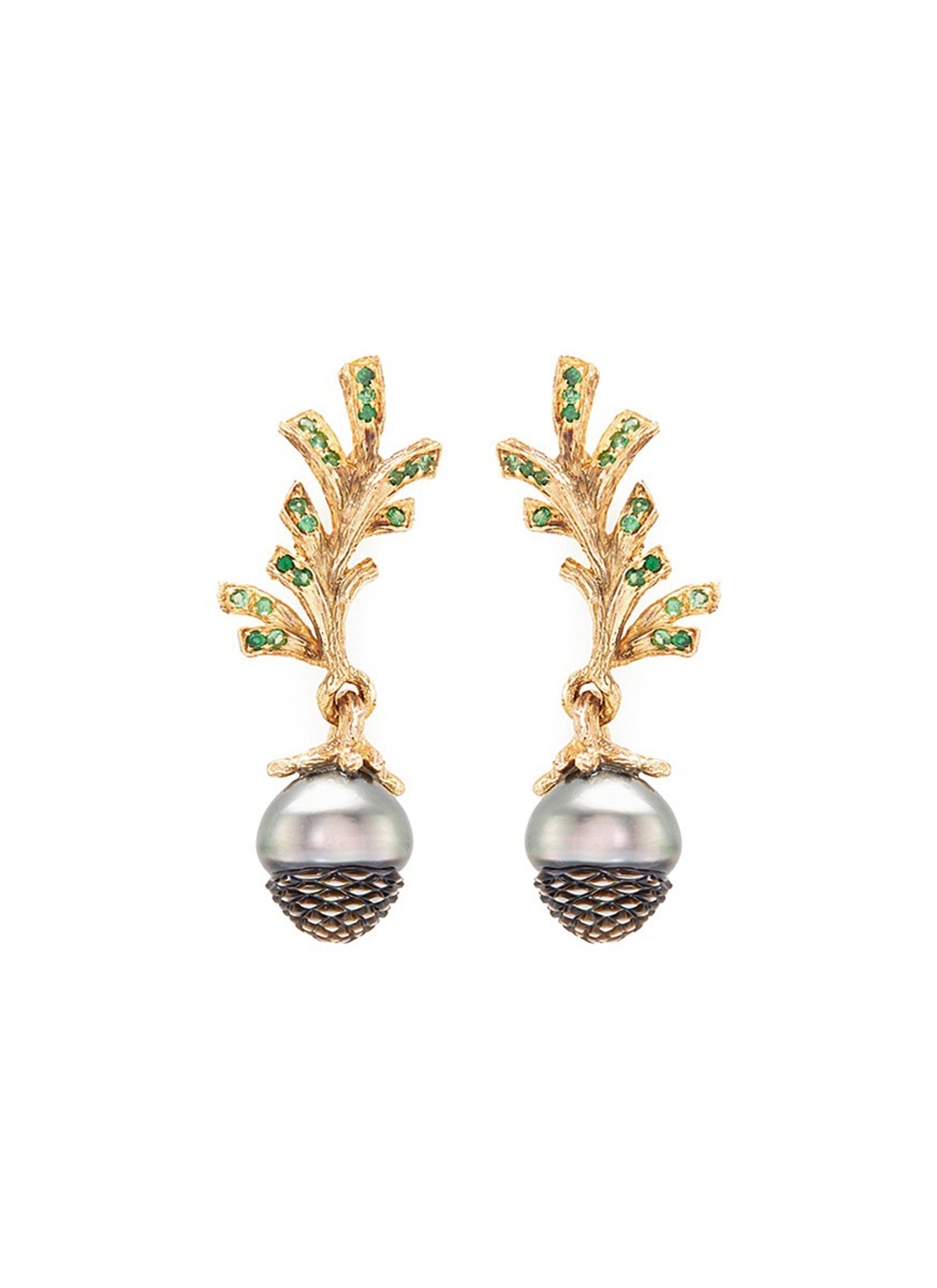 Pinecone tsavorite pearl 18k gold earrings by Heting