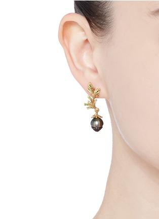 Heting-'Pinecone' tsavorite pearl 18k gold earrings