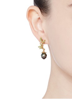 Heting 'Pinecone' tsavorite pearl 18k gold earrings