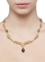 'Pinecone' tsavorite pearl 18k gold necklace