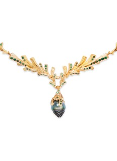 Heting 'Pinecone' tsavorite pearl 18k gold necklace