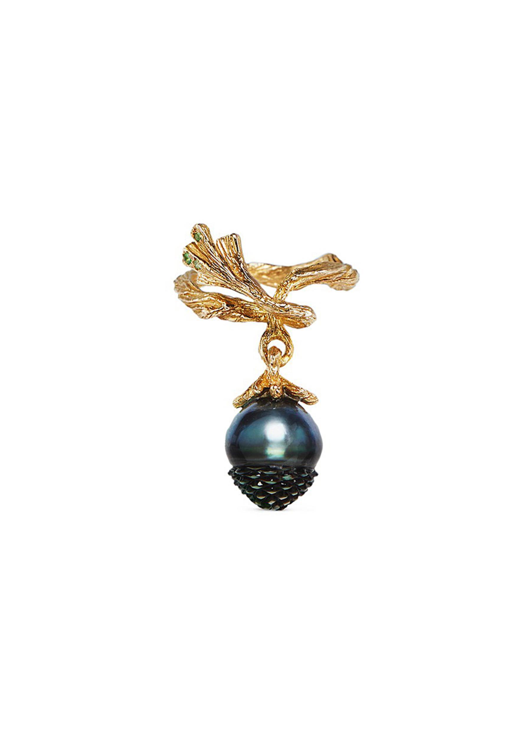 Pinecone tsavorite pearl 18k gold ring by Heting