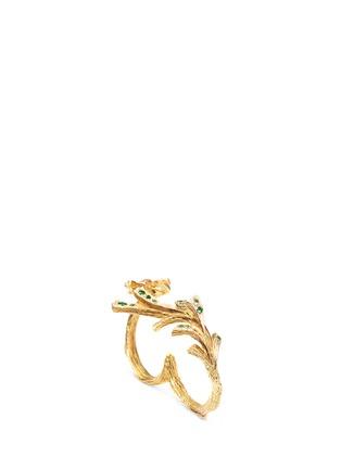 Heting-'Pinecone' tsavorite 18k gold two finger ring