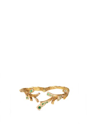 Main View - Click To Enlarge - Heting - 'Pinecone' tsavorite 18k gold two finger ring