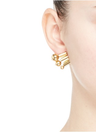 Figure View - Click To Enlarge - Ela Stone - 'Barbara' sphere watch chain stud earrings