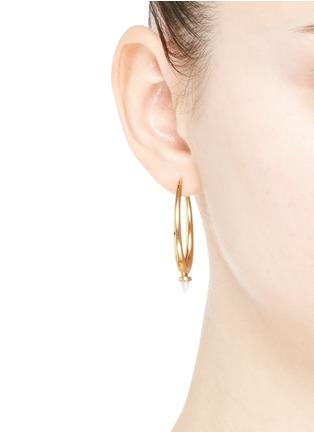Figure View - Click To Enlarge - Ela Stone - 'Jenny' mini jade spike hoop earrings