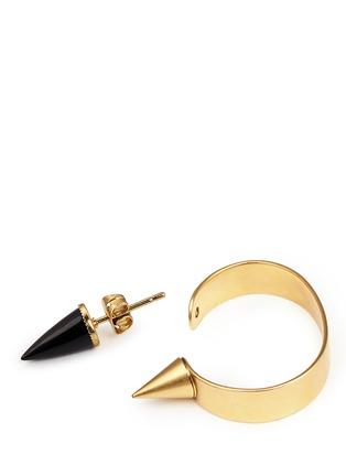 Detail View - Click To Enlarge - Ela Stone - 'Marla' onyx stud hoop earrings