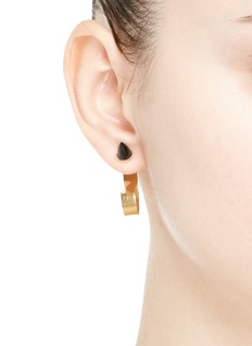 ELA STONE 'Marla' onyx stud hoop earrings