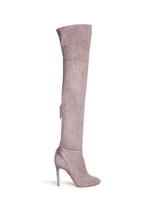 Main View - Click To Enlarge - Aquazzura - 'Giselle' lace-up sock suede thigh high boots