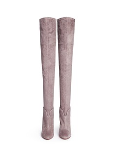 AQUAZZURA'Giselle' lace-up sock suede thigh high boots