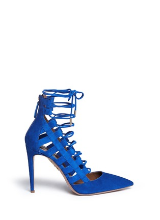 Aquazzura - 'Amazon' caged suede pumps