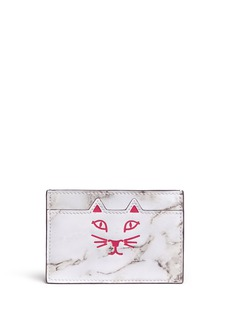 CHARLOTTE OLYMPIA 'Feline' cat face marble print leather card holder