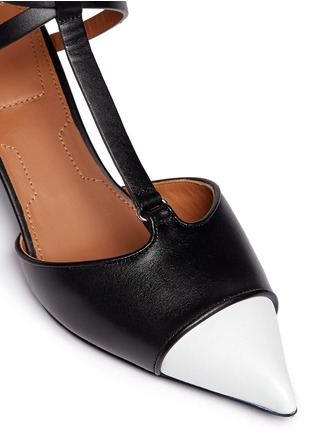 Givenchy - Screw heel contrast toe leather strap pumps
