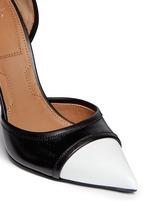 Screw heel contrast toe leather pumps