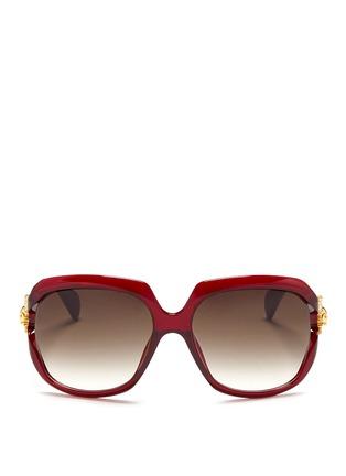 首图 - 点击放大 - ALEXANDER MCQUEEN - Sunray skull suspended lens acetate sunglasses