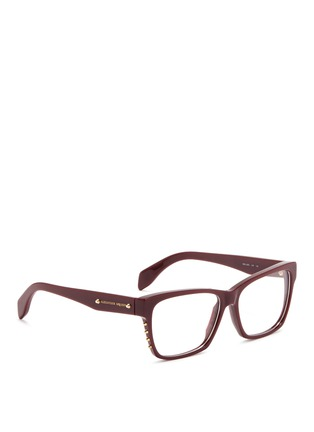 模特儿示范图 - 点击放大 - ALEXANDER MCQUEEN - Stud square frame optical glasses